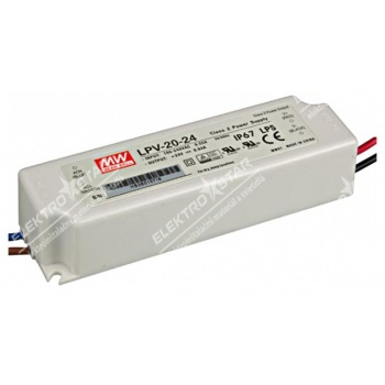 Transformátor Mean Well LED 20W/24V IP67 - LPV-20-24